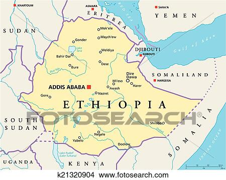 Clipart of Ethiopia Political Map k21320904 Search Clip Art