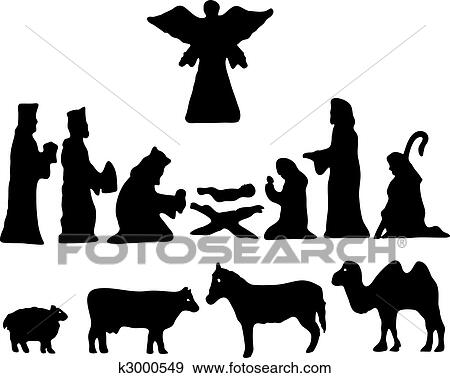 Clip Art of Silhouette Star of Bethlehem. Nativity k3000549 ...