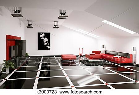 Penthouse Living Room Interior 3d Render