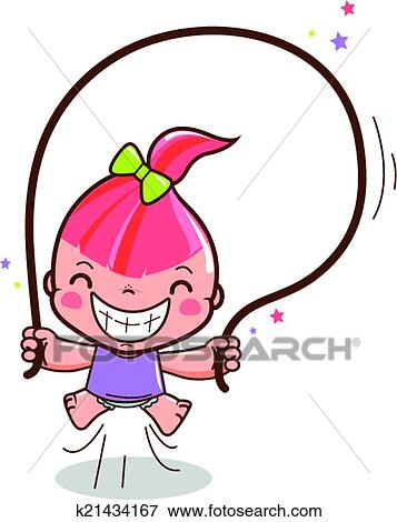clip art of girl jumping rope k21434167 search clipart rh fotosearch com jumping clipart free jumping clipart silhouette