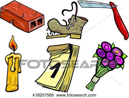 Clipart - objetos, caricatura, clip, artes, ilustración, conjunto ...