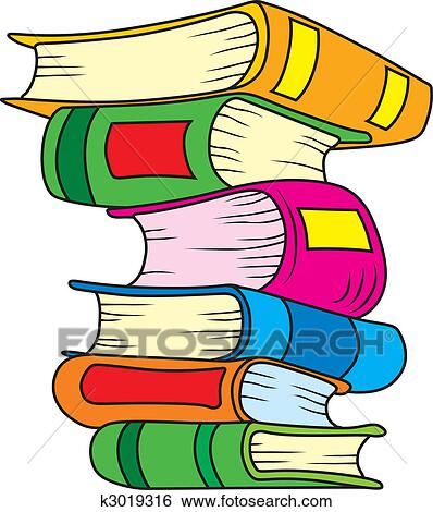 Bücherstapel gezeichnet  Clip Art of Books k3019316 - Search Clipart, Illustration Posters ...