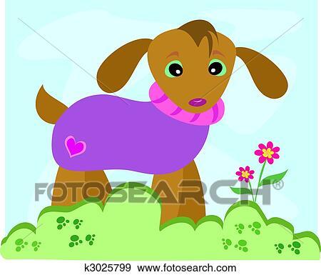 剪贴画 狗, 在中, 毛线衫图片