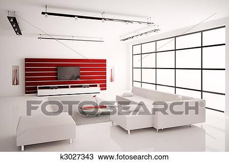 Zeichnung - wohnzimmer, in, weiß rot, innere, 3d k3027343 - Suche ...