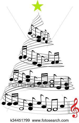 clip art weihnachten musik baum k34451799 suche. Black Bedroom Furniture Sets. Home Design Ideas
