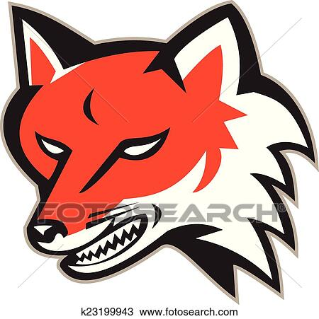 clipart of red fox angry head retro k23199943 search clip art rh fotosearch com  red fox clipart