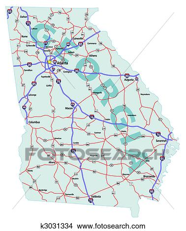Clipart Of Georgia State Interstate Map K Search Clip Art - State map of georgia