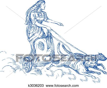 drawing of freya norse goddess of love and beauty riding a