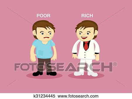 Clipart of Rich Man Poor Man Cartoon Illustration k31234445 ...