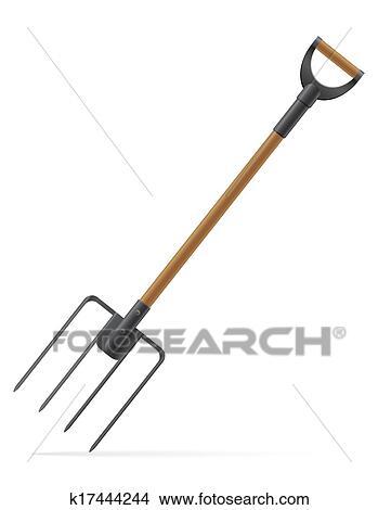 Clipart of garden tool pitchfork vector illustration k17444244 ...