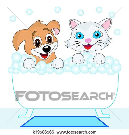 Clip Art of merry kitten and dog bath in bath k19586566 - Search ...