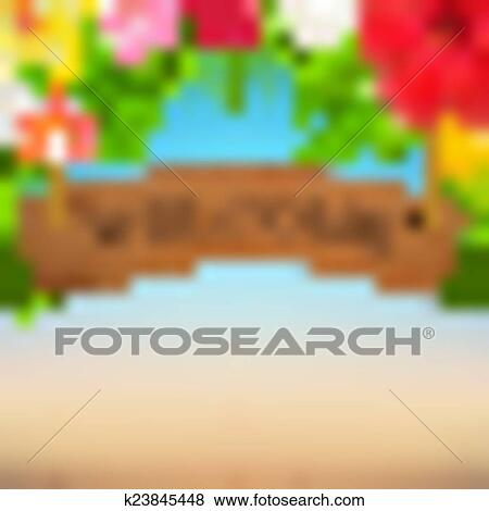 Clip Art of Wooden Sign With Tropical Flowers k23845448 - Search ...