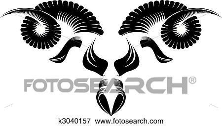黑白, 羊头, 模式, design.图片