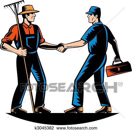 Clip Art of farmer and a tradesman,repairman,plumber or handyman ...