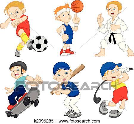 Clipart Of Boy Cartoon Character Doing Sport K20952851