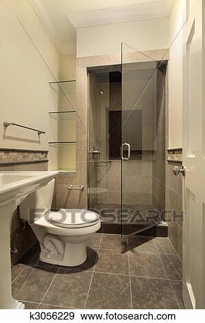 Stock fotograf badezimmer mit dusche k3056229 suche for Badezimmer clipart
