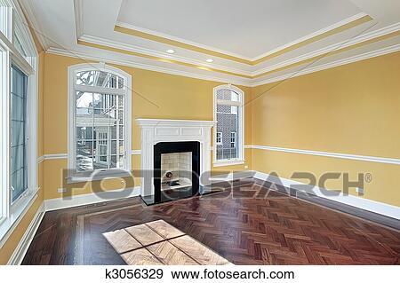 Stock Fotograf - wohnzimmer, mit, gelbe wände k3056329 - Suche ...
