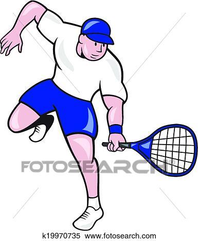 Clipart joueur tennis raquette dessin anim k19970735 - Dessin raquette ...