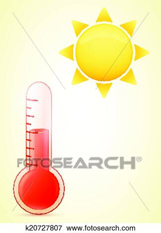 Clip Art of thermometer with sun hot weather illustration ...