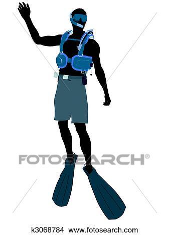手绘图 - 男性, 水下呼吸器潜水员图片