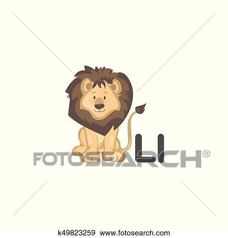 Clip Art Of L Is For Lion K49823259