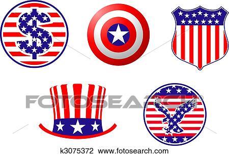 Clipart of American patriotic symbols k3075372 - Search ...