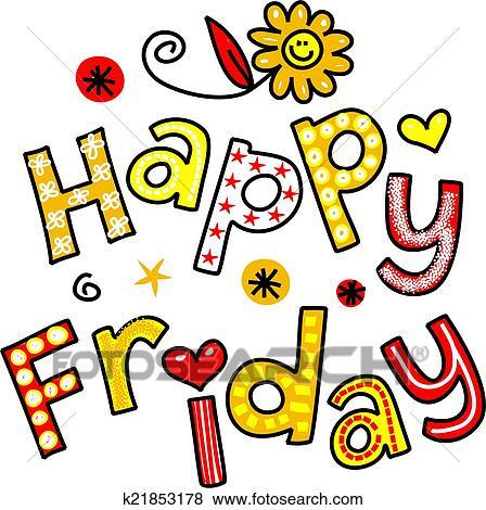 stock illustration of happy friday cartoon text clipart k21853178 rh fotosearch com happy friday clipart animals snoopy happy friday clipart