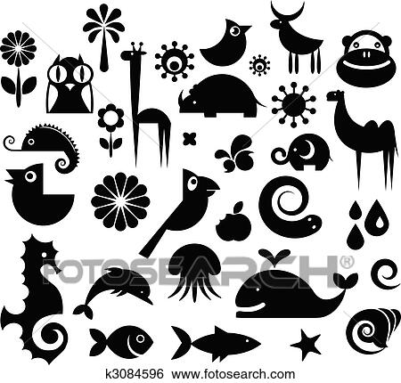 Clip Art of Collection of nature icons k3084596 - Search Clipart ...