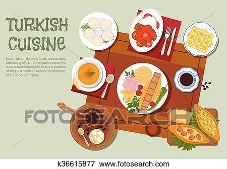 Clipart turc chiche kebab caf et p tisseries plat - Cuisine turc traditionnel ...