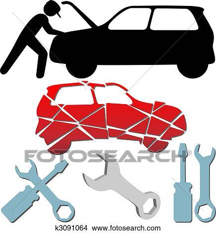 Clipart of Auto Repair Maintenance Car Mechanic symbol set ...