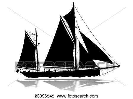 Banque d 39 illustrations voilier silhouette k3096545 recherche de cliparts de dessins d - Dessins de voiliers ...