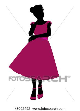 clip art of prom girl illustration silhouette k3092492 search rh fotosearch com clipart prom queen prom clipart pictures