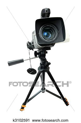 Stock Photography of video camera on tripod k3102591 ...