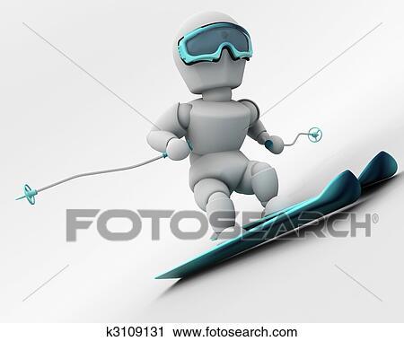 Clipart ski alpin k3109131 recherchez des clip arts - Ski alpin dessin ...