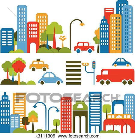 Clip Art of Cute vector illustration of a city street ...