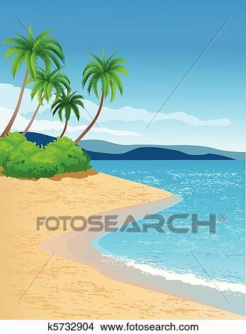 Clipart spiaggia tropicale k5732904 cerca clipart for Disegni di casa sulla spiaggia tropicale