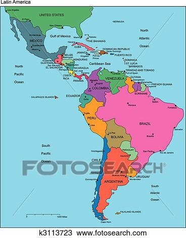 Clipart of Latin America with Editable Countries Names k3113723