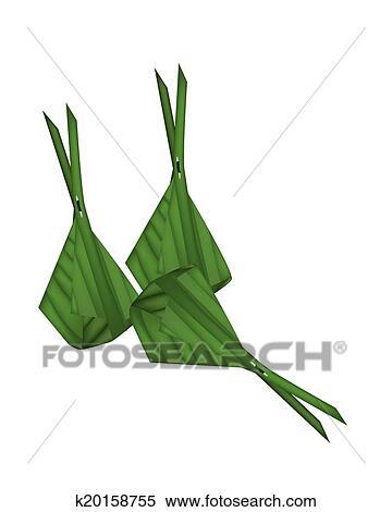 Clip Art of Sweet Green Sticky Rice on Banana Leaf k20805197 ...