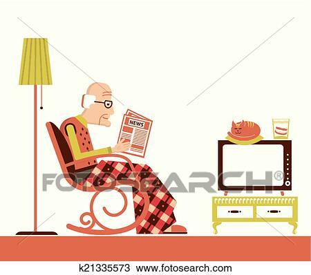 Clipart alter mann sitzen und lesend zeitung for Alter mann im schaukelstuhl