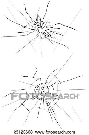 Clipart verre cass k3123668 recherchez des cliparts for Dessin miroir bris