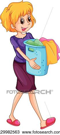 laundry basket clipart. Clipart - Woman Carrying Laundry Basket. Fotosearch Search Clip Art, Illustration Murals, Basket