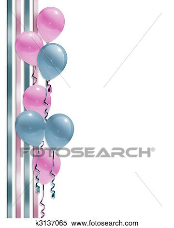 Stock Illustration Of Balloons Border Baby Shower K3137065 Search