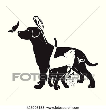 clip art of vector group of pets dog cat bird butterfly rabbit rh fotosearch com Girl with Pet Clip Art Girl with Pet Clip Art
