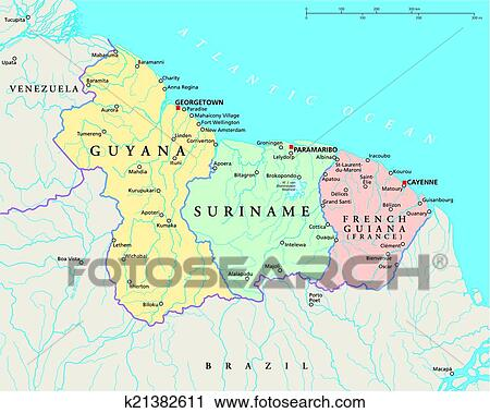 Clipart of Guyana Suriname and French Guiana k21382611 Search