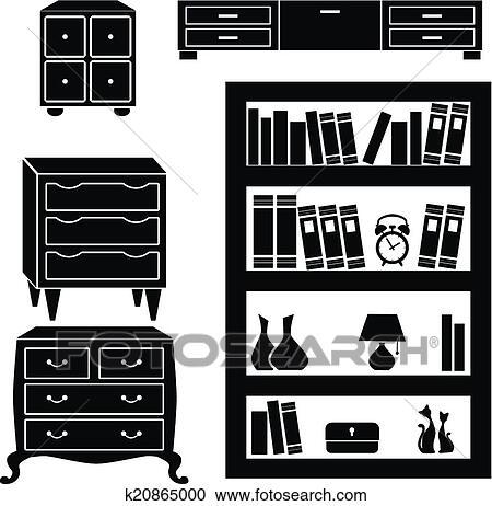 Bücherregal clipart schwarz weiß  Clipart - satz, silhouetten, von, geschirrschrank, brüste, und ...