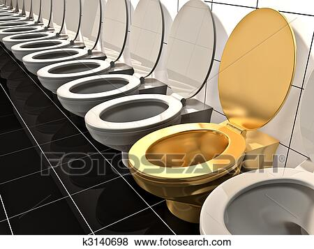 toilet made of gold. Stock Illustration  Elite gold office Toilet Made in 3d Fotosearch Search EPS of