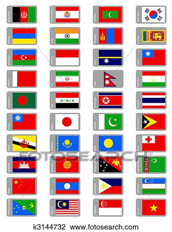 clipart asiatische flaggen satz k3144732 suche clip. Black Bedroom Furniture Sets. Home Design Ideas