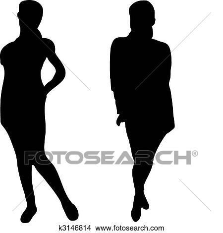 Clipart 2 elegante frauen silhouetten wei for Elegante wandbilder