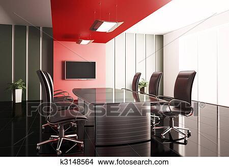 手绘图 - 会议室, 3d