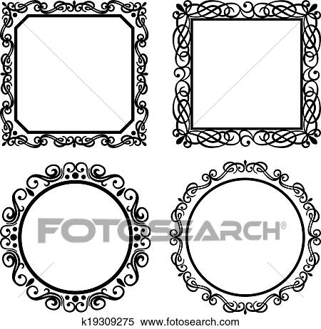 clipart of set of vintage vector frames borders k19309275 search rh fotosearch com vector frames and borders free download vector frames and borders free download